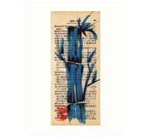 'blue' - watercolor and brush pen bamboo drawing Art Print