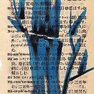 'blue' - watercolor and brush pen bamboo drawing by Rebecca Rees