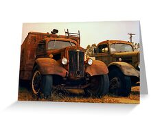 Trucks Under Smoke - Perris, CA Greeting Card