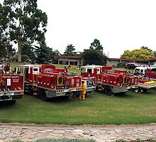 CFA Fire Trucks in Drouin's Civic Park, Victoria by Bev Pascoe