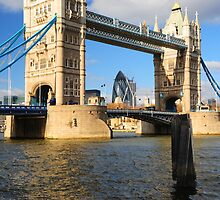 Tower Bridge and Gherkin London UK by DonDavisUK