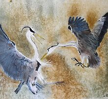 Battling Gray Herons by David M Scott