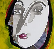 face, yellow profile postcard by donnamalone