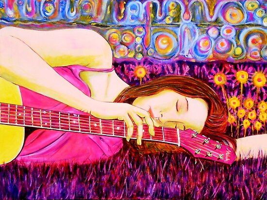 "Guitar Girl in a Pink Landscape  by Belinda ""BillyLee"" NYE (Printmaker)"