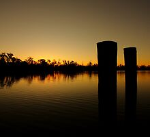Murray River Golden Sunset Australia with Piers by timphillips
