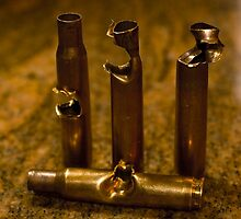 .30 Caliber shells, hit by .30 Caliber Bullets by Collin Dow