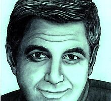George Clooney celebrity portrait by Margaret Sanderson