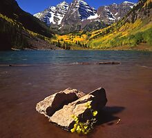 Maroon Bells and Rock by Mike Norton