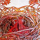 "Red Birds Waiting by Belinda ""BillyLee"" NYE (Printmaker)"