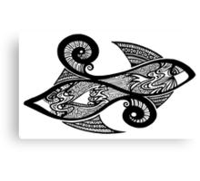 Black and White Fish Canvas Print