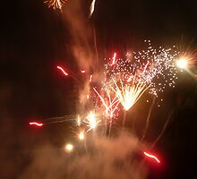 Red, White & Gold Sparkling Fireworks Explosion. by Mywildscapepics