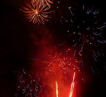 Red & Purple Exploding Fireworks against the Night Sky II. by Mywildscapepics