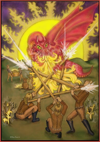 Dragon Fight - Five of Wands Tarot by dreamlyn