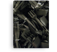 plastics in black Canvas Print