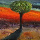 Tree With Orange Background by simonsmith1