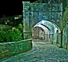 Medieval Streets of an Italian Village at Night by Mario Curcio
