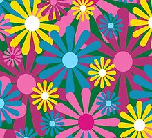 Funky Flowers Card by Louise Parton