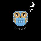 Night Night Blue Owl Card by Louise Parton