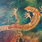 Mixed Media painting - lizard on rich turquoise by Alyshia Hansen