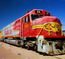 Santa Fe Train as pseudo oil painting by Sue Leonard