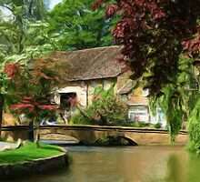 Idyllic village scene as pseudo oil painting by Sue Leonard