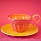 Pink and yellow vintage teacup & saucer by Zoe Power