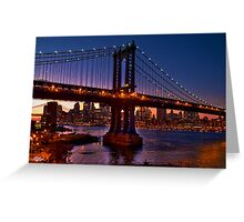 The Brooklyn and Manhattan Bridges at Dusk, USA Greeting Card