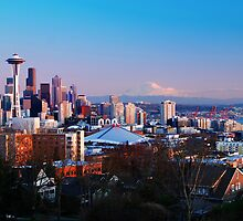 Seattle Skyline at Sunset by Jennifer Hulbert-Hortman