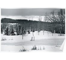 Black and White Pond Hockey Poster