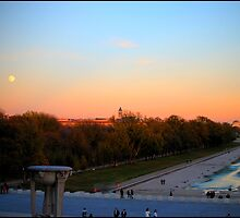 Mall from Lincoln memorial at sunset, full moon by Melinda  Ison - Poor