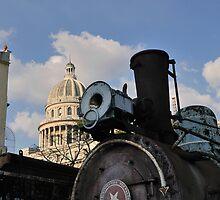Old steam train & Capitolio, Cuba by buttonpresser