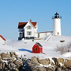 Winter at Nubble Light by David McCrillis