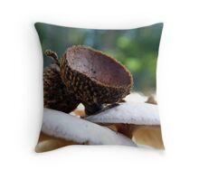 acorns and mushrooms Throw Pillow