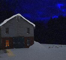 Little Barn on a snowy night by Dennymon