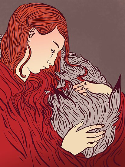 Valentine's Day Art and Design: Goodnight wolf by Alice Carroll