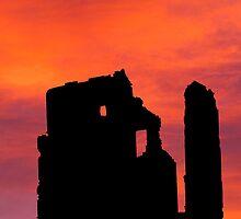 Silhouette, Corfe Castle, Dorset, England by buttonpresser
