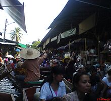 Busy Day At the floating Market in Bangkok by janetfcw