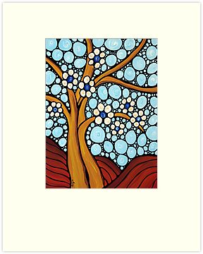 The Loving Tree - Abstract Mosaic Landscape Art Print by Sharon Cummings