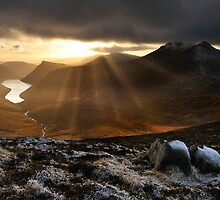 Light beams Over Ben Crom. by Leslie Hanthorne