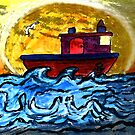 Sunset Tugboat by Monica Engeler