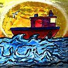 Sunset Tugboat by Monica Engeler