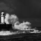 South Gare (Stormy) - B&amp;W by PaulBradley