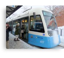 Blue Tram of Gothenburg in Winter Weather Canvas Print