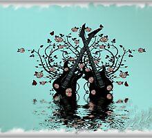 Guitars & Roses ~Teal by Beatriz  Cruz
