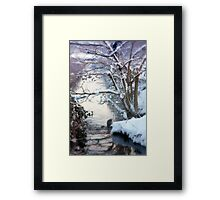 Heron Winter Scene Framed Print