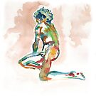 life drawing watercolour man by Tristan Klein