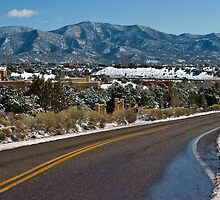 A Sunny Snow covered Santa Fe Day by Roschetzky