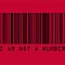 Barcode I Am Not A Number in Red by ArtPrints