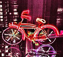 Neon Bicycle Take One by Lorraine Bratis