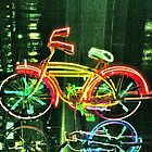 Neon Bicycle Take Three by Lorraine Bratis